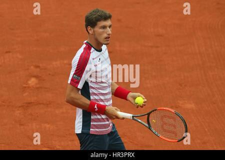 Rio de Janeiro, Brazil, February 26th 2017. Pablo Carreño Busta (ESP) in the final match of the Singles tournament - Stock Photo