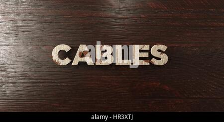Cables - grungy wooden headline on Maple  - 3D rendered royalty free stock image. This image can be used for an - Stock Photo