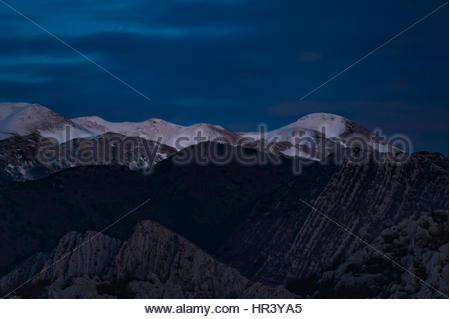 Mountain Velebit covered in snow. Sveto Brdo (1751 m) - South Velebit - Stock Photo