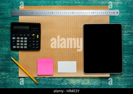 Engineering tools view from top.Architect rolls and plans.architectural plan,technical project drawing. - Stock Photo