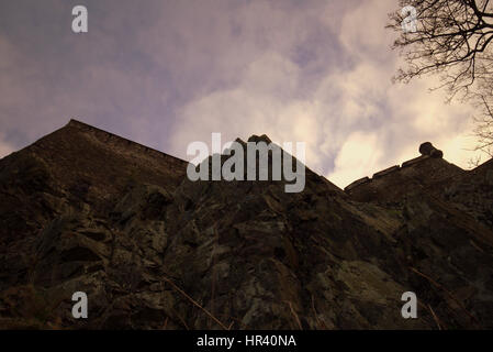 Edinburgh castle ramparts shot from below the rock - Stock Photo