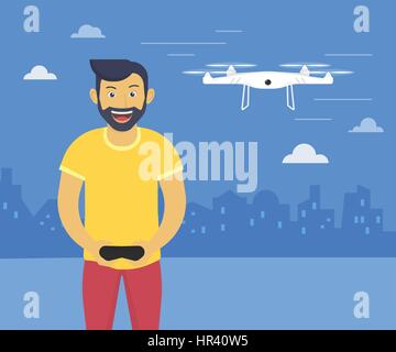 Quadrocopter launching fun illustration of youn smiling man drives flying drone - Stock Photo