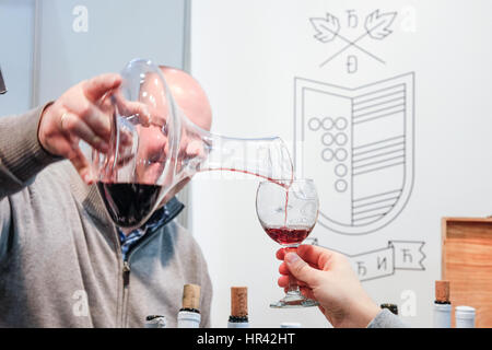 BELGRADE, SERBIA - FEBRUARY 25, 2017: Red wine being poured into a glass for a wine tasting during the 2017 Belgrade - Stock Photo