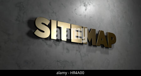 Sitemap - Gold sign mounted on glossy marble wall  - 3D rendered royalty free stock illustration. This image can - Stock Photo