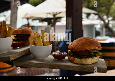 A juicy cheeseburger served with home made fries. - Stock Photo