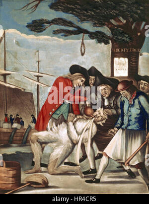 Philip Dawe (attributed), The Bostonians Paying the Excise-man, or Tarring and Feathering (1774) - Stock Photo