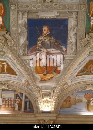 Palazzo della Meridiana Salone Cambiaso Figura Carlo V - Stock Photo
