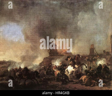 Philips Wouwerman - Cavalry Battle in front of a Burning Mill - WGA25869 - Stock Photo