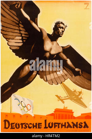 """""""Deutsche Lufthansa"""" poster for German airlines promoting the 1936 Olympic Games in Nazi Germany, note the partially - Stock Photo"""