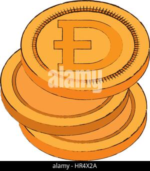dogecoin cryptocurrency stack icon - Stock Photo