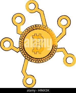 drawing bitcoin web icon - Stock Photo