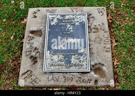 A time capsule is buried on the campus of the University of Dallas in Irving, TX - Stock Photo