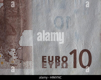 Closeup of a used 10 Euro paper money bill - Stock Photo