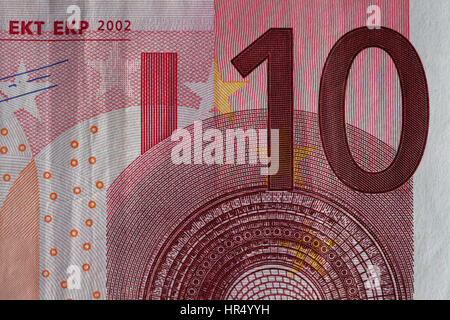 Closeup of a used 5 Euro paper money bill - Stock Photo