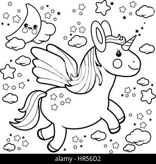 Coloring Page Vector Illustration Of A Cute Unicorn Flying In The Night Sky With Moon Stars And