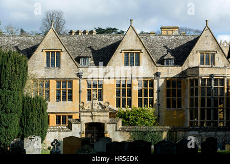 Stanway House from St. Peter`s churchyard, Stanway, Gloucestershire, England, UK - Stock Photo
