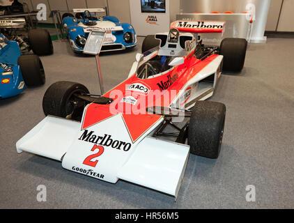 A McLaren M23 Formula One Car  driven by Jochen Mass, on display in the Historic Morotsport International 2017 - Stock Photo
