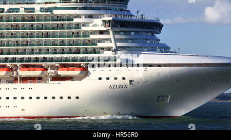 Close crop of P&O Cruise ship Azura under way from Southampton Port in the Solent / Spithead seaway, UK - Stock Photo