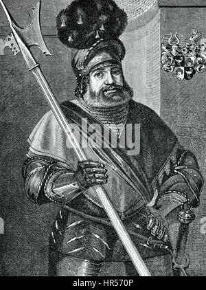 Georg von Frundsberg or Fronsberg or Freundsberg, 1473 - 1528, a southern German soldier and a mercenary leader - Stock Photo