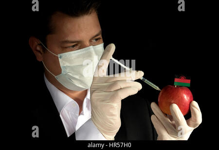 Young businessman injecting chemicals into an apple with Malawi flag on black background - Stock Photo