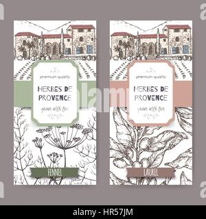 Two labels with Provence cottage, fennel and laurel sketch. - Stock Photo