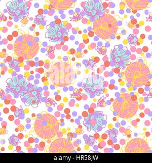 Circles and flowers. Abstract seamless pattern on white background for design greeting cards, invitation, meetings - Stock Photo