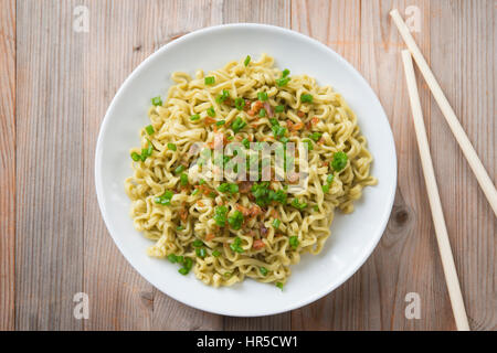 Top view dried noodles - Stock Photo