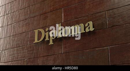 Diploma - Bronze plaque mounted on maple wood wall  - 3D rendered royalty free stock picture. This image can be - Stock Photo