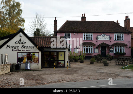 Olde Forge Stores and The Dog pub, Grundisburgh, Suffolk, UK. - Stock Photo