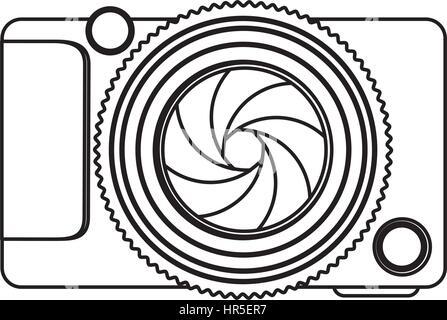 monochrome contour of analog camera - Stock Photo
