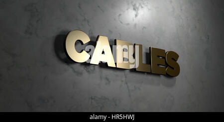 Cables - Gold sign mounted on glossy marble wall  - 3D rendered royalty free stock illustration. This image can - Stock Photo