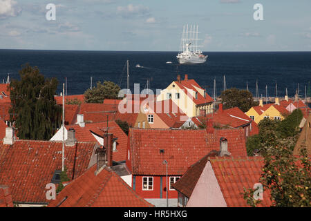 Club Med 2, a sailing ship with 5 masts moored off the small town of Svaneke, on the Baltic island of Bornholm, - Stock Photo