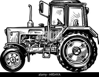 Hand-drawn farm truck tractor. Transport sketch vector illustration - Stock Photo