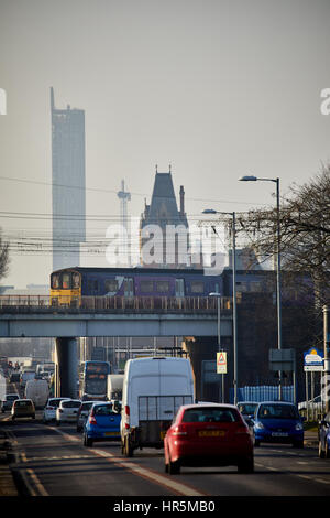 Hyde Road in Gorton a Northern Class 150 local DMU stopping train from Manchester, England,UK - Stock Photo