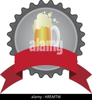 circular color emblem of glass with beer and ribbon - Stock Photo
