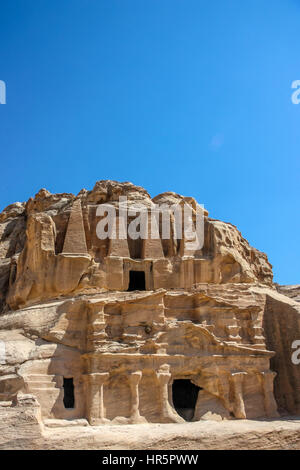 Scenic view Obelisk Tomb and the Triclinium in Petra, Jordan - Stock Photo