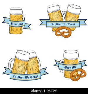 Beer icon set. Full Beer Mug. Octoberfest Label Collection. - Stock Photo