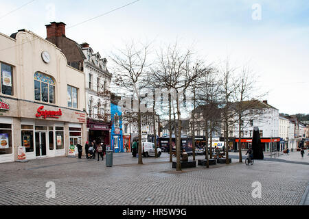 Shoppers, pedestrians and cyclists at John Roberts Square in Waterford City, County Waterford, Ireland - Stock Photo
