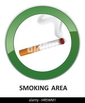 Smoking area label. Smoking Area Icon. Vector Info Sign. - Stock Photo