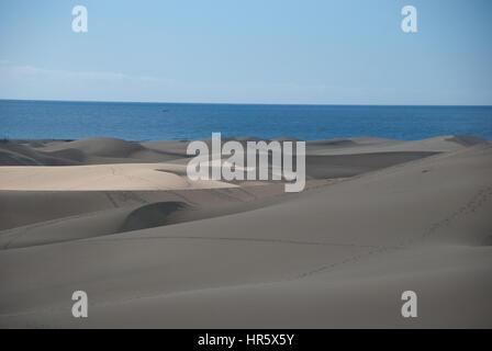 Sand Dunes in between Maspalomas and Playa de Ingles - Stock Photo