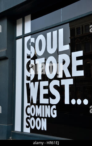 Soul Store West Coming Soon sign,, Kilburn, London, UK - Stock Photo