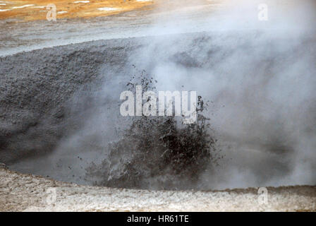 A geothermal spot noted for its bubbling pools, boiling mud pits and steaming fumaroles emitting sulfuric gas, Namjafall, - Stock Photo