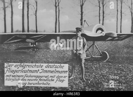 German World War I photographic postcard depicting German flight lieutenant Max Immelmann with an aircraft, 1900. - Stock Photo