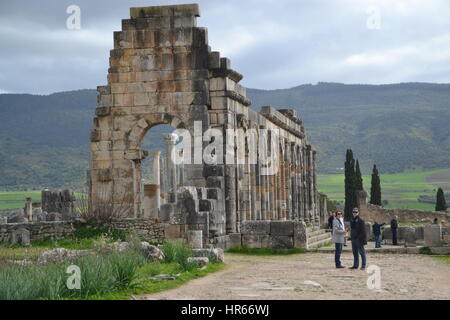 Volubilis is partly excavated Berber and Roman city in Morocco situated near Meknes city, commonly considered as - Stock Photo