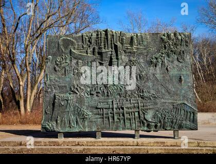 Volkspark Friedrichshain, Berlin, Germany. Monument to the Spanish Civil War. Denkmal der Spanienkampfer,Honours - Stock Photo