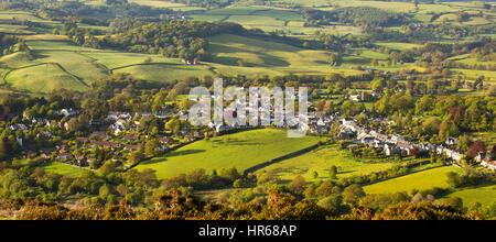View over Chagford taken from Meldon Hill Dartmoor National Park Devon Uk - Stock Photo