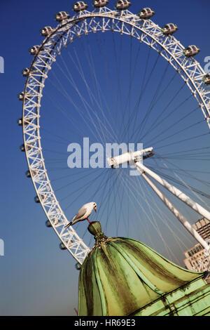 LONDON, UK - JANUARY 26, 2017: The EDF Energy London Eye next to the river Thames, UK - Stock Photo