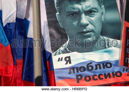 Russia, Moscow,  26th Feb, 2017. A march to commemorate Boris Nemtsov arranged to coincide with second anniversary - Stock Photo