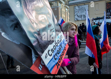 Russia, Moscow,  26th Feb, 2017. Participants in a march to mark two years since opposition leader Boris Nemtsov's - Stock Photo