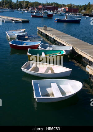 The dingy dock in the harbor of the seaside  town of Manchester by the Sea, Massachusetts - Setting for the movie - Stock Photo